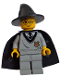 Minifig No: hp035  Name: Harry Potter, Hogwarts Torso, Light Gray Legs, Black Wizard / Witch Hat, Black Cape with Stars