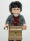 Minifig No: hp041  Name: Harry Potter, Dark Bluish Gray Open Shirt Torso, Dark Tan Legs