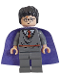 Minifig No: hp051  Name: Harry Potter, Gryffindor Stripe Torso, Dark Bluish Gray Legs, Violet Cape