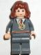 Minifig No: hp054  Name: Hermione, Gryffindor Stripe Torso w/ Necklace, Dark Bluish Gray Legs