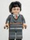 Minifig No: hp056  Name: Harry Potter, Gryffindor Stripe Torso, Dark Bluish Gray Legs