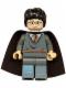 Minifig No: hp056a  Name: Harry Potter, Gryffindor Stripe Torso, Dark Bluish Gray Legs, Plain Black Cape (Set 4753)