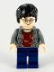 Minifig No: hp057  Name: Harry Potter, Dark Bluish Gray Open Shirt Torso, Dark Blue Legs