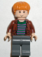 Minifig No: hp058  Name: Ron Weasley, Brown Open Shirt and Striped Sweater