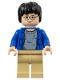 Minifig No: hp059  Name: Harry Potter, Blue Open Shirt Torso, Tan Legs, Light Flesh Hands & Head (set 4755)