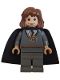 Minifig No: hp063  Name: Hermione Granger, Gryffindor Stripe Torso w/ Necklace Time Turner, Dark Bluish Gray Legs, Plain Black Cape