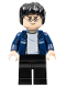 Minifig No: hp087  Name: Harry Potter, Dark Blue Open Jacket with Stripe, Black Legs