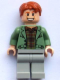 Minifig No: hp089  Name: Arthur Weasley, Sand Green Open Jacket, Light Bluish Gray Legs
