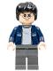 Minifig No: hp116  Name: Harry Potter, Dark Blue Open Jacket with Stripe, Dark Bluish Gray Legs