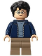 Minifig No: hp175  Name: Harry Potter, Dark Blue Open Jacket, Dark Tan Medium Legs