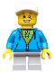 Minifig No: idea033  Name: Boy, White Cap, Dark Azure Hoodie, Lime Shirt