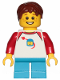 Minifig No: idea051  Name: Boy, Freckles, Classic Space Shirt with Red Sleeves, Dark Azure Short Legs, Reddish Brown Hair Short Tousled with Side Part