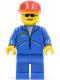 Minifig No: jbl001  Name: Jacket Blue - Blue Legs, Red Cap, Sunglasses