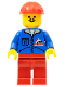 Minifig No: jbl003  Name: Bulldozer Logo - Red Legs, Red Construction Helmet