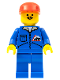 Minifig No: jbl009  Name: Bulldozer Logo - Blue Legs, Red Cap
