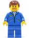 Minifig No: jbl010  Name: Jacket Blue - Blue Legs, Reddish Brown Male Hair, Brown Facial Hair (Commentator)