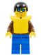 Minifig No: jbr006  Name: Jacket Brown - Blue Legs, Black Male Hair, Life Jacket