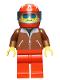 Minifig No: jbr007  Name: Jacket Brown - Red Legs, Red Helmet 7 White Stars, Trans-Light Blue Visor, Blue Sunglasses