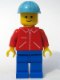 Minifig No: jred013  Name: Jacket Red with Zipper - Red Arms - Blue Legs, Maersk Blue Construction Helmet
