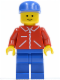 Minifig No: jred024  Name: Jacket Red with Zipper - Red Arms - Blue Legs, Blue Cap