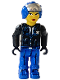 Minifig No: js005  Name: Police - Blue Legs, Black Jacket, Blue Helmet (Female)