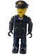 Minifig No: js019  Name: Airplane Pilot with Black Pants, Black Shirt and Black Cap with Logo