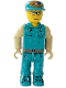 Minifig No: js023  Name: Crewman with Dark Turquoise Shirt and Pants, Tan Arms