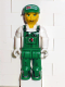 Minifig No: js024  Name: Mechanic in Green Overalls with Octan Pattern