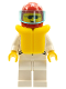 Minifig No: jstr002  Name: Jacket 2 Stars White - White Legs, Red Helmet 7 White Stars, Trans-Light Blue Visor