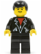 Minifig No: lea001  Name: Leather Jacket with Zippers - Black Legs, Black Male Hair, Eyebrows
