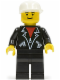 Minifig No: lea002  Name: Leather Jacket with Zippers - Black Legs, White Cap