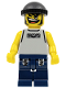 Minifig No: nba032  Name: Basketball Street Player, Light Gray Torso and Dark Blue Legs