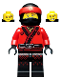 Minifig No: njo349  Name: Kai - Fire Mech Driver, The LEGO Ninjago Movie (70615)