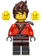 Minifig No: njo360  Name: Kai - Hair, Pearl Dark Gray Katana Holder, The LEGO Ninjago Movie