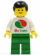 Minifig No: oct004  Name: Octan - White Logo, Green Legs, Black Male Hair