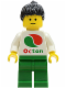 Minifig No: oct009  Name: Octan - White Logo, Green Legs, Black Ponytail Hair