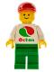 Minifig No: oct012new  Name: Octan - White Logo, Green Legs, Red Cap Short Bill (Reissue)