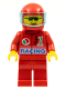 Minifig No: oct030  Name: Octan - Racing, Red Legs, Red Helmet, Trans-Light Blue Visor
