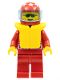 Minifig No: oct036  Name: Octan - Racing, Red Legs, Red Helmet 7 White Stars, Trans-Light Blue Visor, Life Jacket