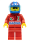 Minifig No: oct039  Name: Octan - Racing, Red Legs, Blue Helmet 4 Stars & Stripes, Trans-Light Blue Visor
