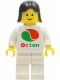 Minifig No: oct046  Name: Octan - White Logo, White Legs, Black Female Hair