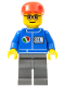 Minifig No: oct053  Name: Octan - Blue Oil, Dark Bluish Gray Legs, Red Cap, Glasses