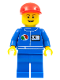 Minifig No: oct065  Name: Octan - Blue Oil, Blue Legs, Red Short Bill Cap, Open Grin