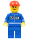 Minifig No: oct066  Name: Octan - Blue Oil, Blue Legs, Red Short Bill Cap, Crooked Smile