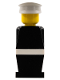 Minifig No: old009a  Name: Legoland Old Type - Black Torso, Black Legs, White Hat, White Belt