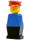 Minifig No: old010  Name: Legoland Old Type - Blue Torso, Black Legs, Red Hat