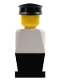 Minifig No: old024  Name: Legoland Old Type - White Torso, Black Legs, Black Hat
