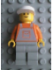 Minifig No: ovr023  Name: Overalls Gray on Orange with Pocket, Gray Legs, White Cap - Glued