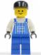 Minifig No: ovr025  Name: Overalls Striped Blue with Pocket, Blue Legs, Black Cap, Standard Grin