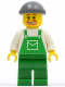 Minifig No: ovr027  Name: Overalls Green with Pocket, Green Legs, Dark Bluish Gray Knit Cap, Beard